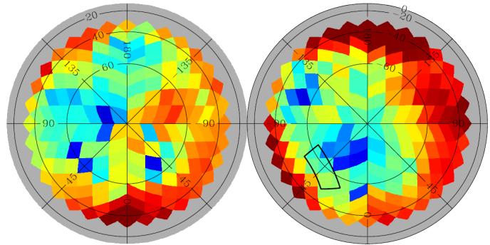 Pôles Nord et Sud du ciel vus par le satellite Planck. Les couleurs correspondent à l'effet des poussières de la galaxie sur la lumière. En vert, l'effet est comparable à celui des ondes gravitationnelles du Big Bang. En rouge, il est supérieur. En bleu, inférieur.