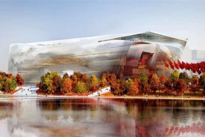 Vue de la façade ouest du futur Musée national des arts de la Chine, à Pékin, signé par Jean Nouvel.