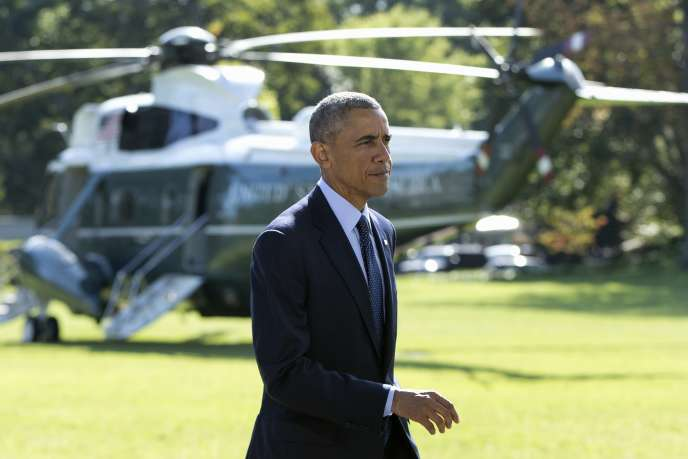 Barack Obama, dans les jardins de la Maison Blanche, le 23 septembre 2014, après l'annonce de la participation de cinq pays arabes à la coalition internationale en lutte contre les djihadistes de l'Etat islamique.