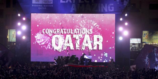 Doha célèbre l'attribution du Mondial 2002 le 2 décembre 2010.