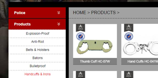 Capture d'écran d'un site de producteur chinois d'outils de maintien de l'ordre.