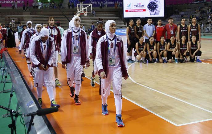 L'équipe féminine de basket du Qatar.