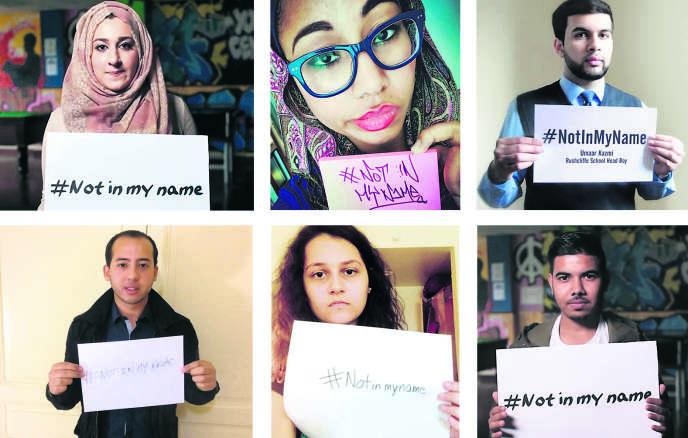 Photographies postées sur Twitter de participants à la campagne anti-islamistes « Not in my name » (« pas en mon nom »).