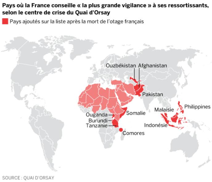 Carte des pays où la France conseille davantage de vigilance à ses ressortissants.