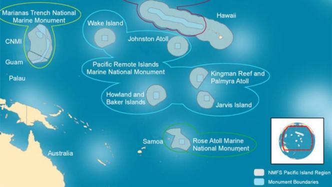 Limites actuelles du Pacific Remote Islands Marine National Monument (cercles gris à l'intérieur de la limite bleue).