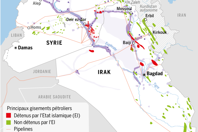 Principaux gisements pétroliers en Syrie et en Irak.