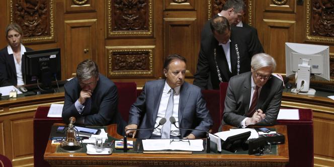 Le plateau Sénat présidé par le socialiste Jean-Pierre Bel, le 9 avril 2014.