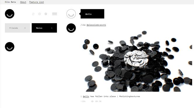 L'interface épurée de Ello.