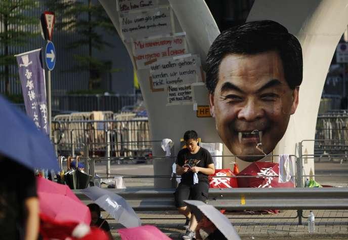 Caricature du chef de l'exécutif de Hongkong, Leung Chun-ying.