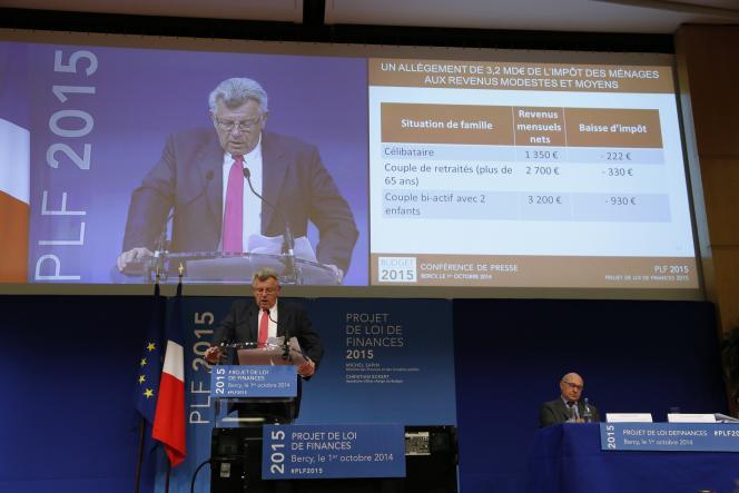 Le ministre du budget, Christian Eckert, lors de la présentation du Projet de loi de finances 2015, à Bercy, le 1er octobre.
