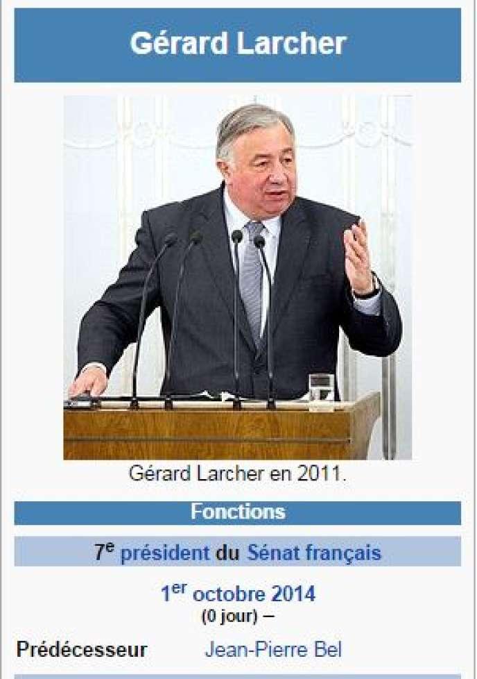 Page d'accueil de la page Wikipédia de Gérard Larcher alors qu'il était encore candidat à la présidence du Sénat