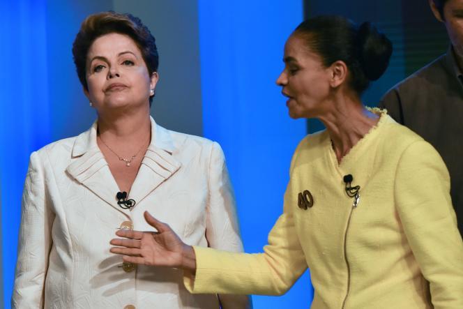 Dilma Rousseff et Marina Silva le 2 octobre, lors du dernier débat télévisé avant la présidentielle.