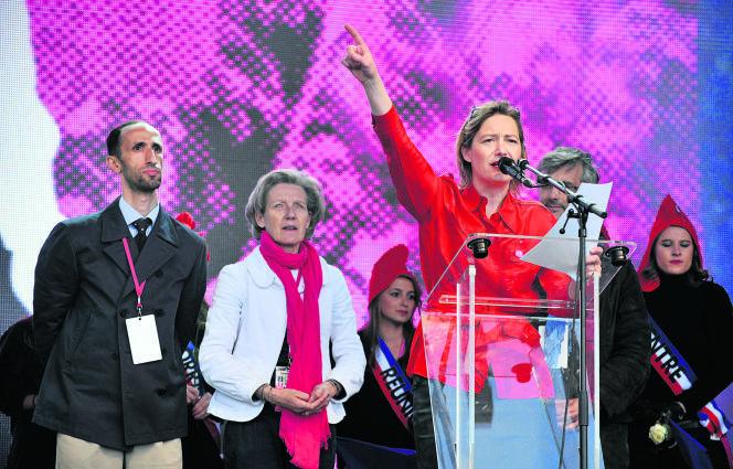Ludovine de La Rochère, présidente de La Manif pour tous, lors d'une manifestation contre le mariage gay, le 26 mai 2013.
