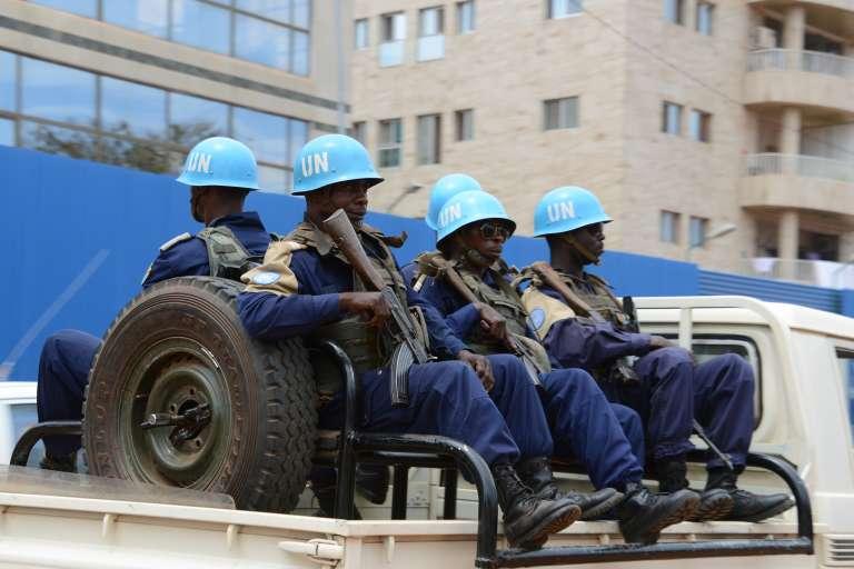 Des casques bleus de la Minusca, à Bangui, le 3 octobre 2014.