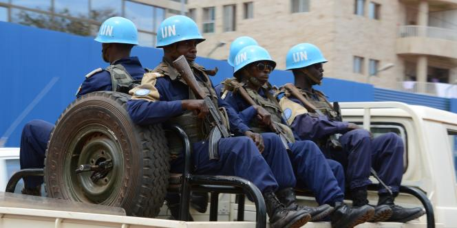Des soldats de la Minusca à Bangui, en octobre 2014.