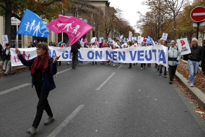 La Manif pour tous à Paris, le 5 octobre 2014.
