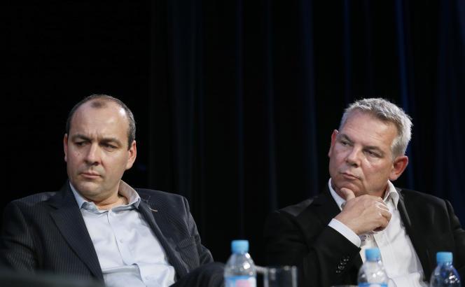 Le secrétaire général de la CFDT, Laurent Berger, et le secrétaire général de la CGT, Thierry Lepaon, le 7 avril.