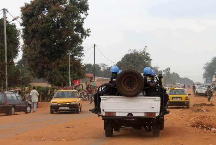 Des soldats de la Minusca à Bangui, le 15 septembre.
