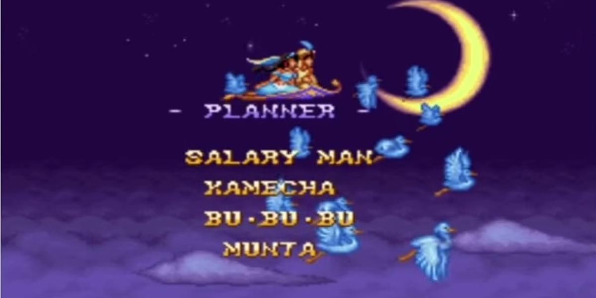 Générique de fin d'«Aladdin» (Super Nintendo, 1993).