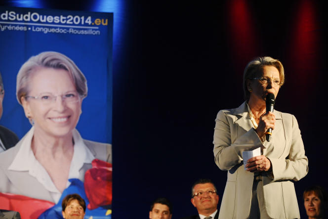 Michèle Alliot-Marie, pendant la campagne pour les élections européennes, le 15 mai à Toulouse.