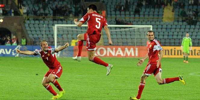 L'Arménien Robert Arzmanyan après son but face à la Serbie, samedi11octobre à Erevan.