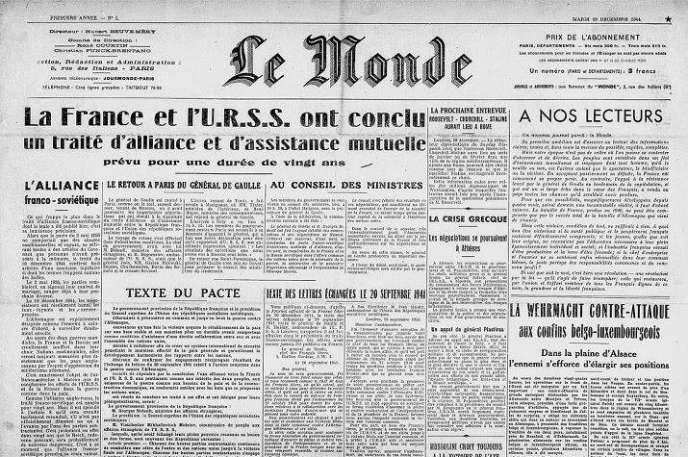 Le premier numéro du journal Le Monde, daté du 19 décembre 1944