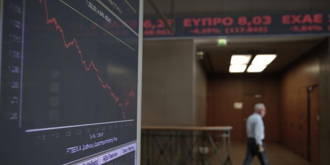 A la bourse d'Athènes, qui a subi une baisse de 6,25%.