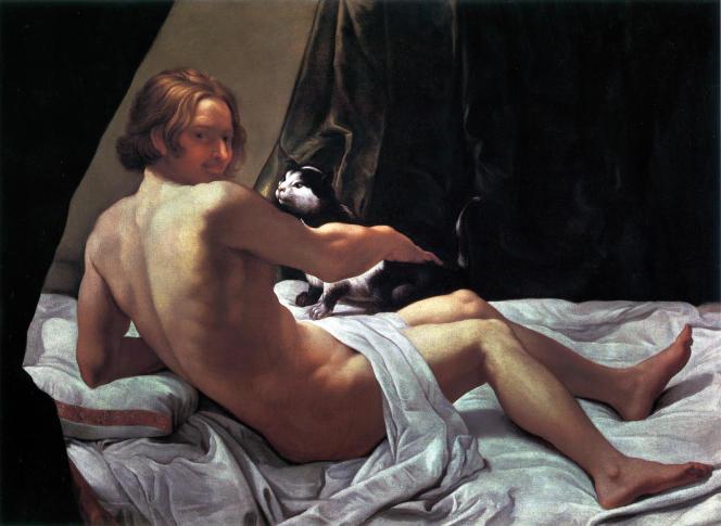 «Jeune homme nu au chat sur un lit» (1620-1622), huile sur toile, de Giovanni Lanfranco.