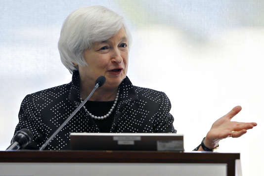 La présidente de la Fed, Janet Yellen, s'exprime devant la banque de la Réserve fédérale de Boston, le 17 octobre 2014.