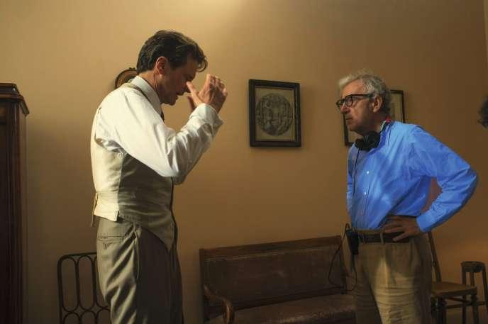 Colin Firth et Woody Allen pendant le tournage de