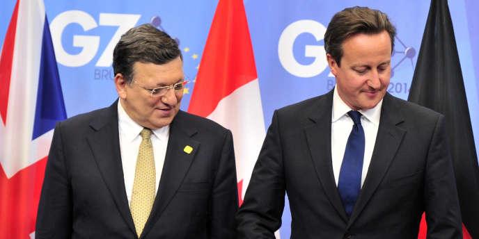 José Manuel Barroso et David Cameron, lors du sommet du G7 en juin 2014 à Bruxelles.