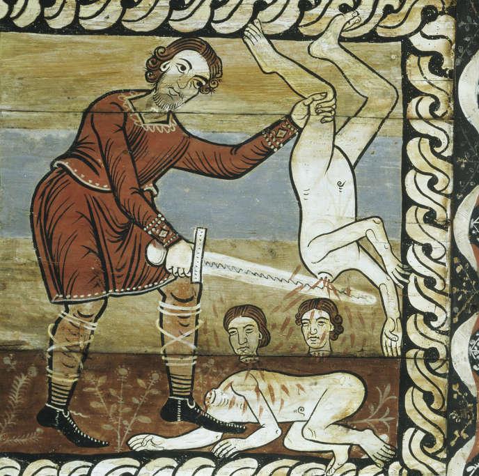 L'une des 153 fresques en bois peint (vers 1150) du plafond de l'église romane Saint-Martin, à Zillis (Suisse), représentant  le massacre des Innocents.