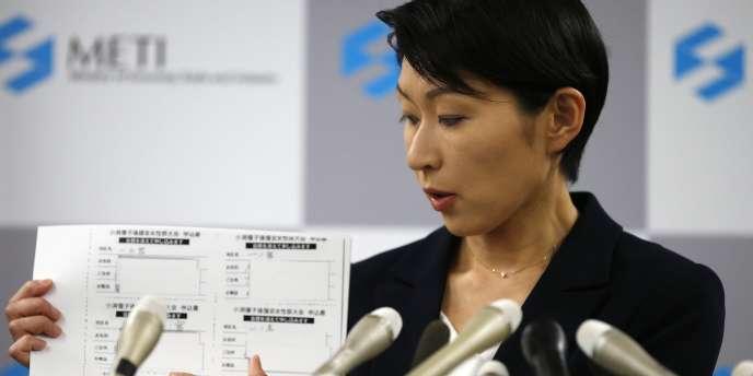Yuko Obuchi, ministre de l'économie japonaise, lundi 20 octobre.