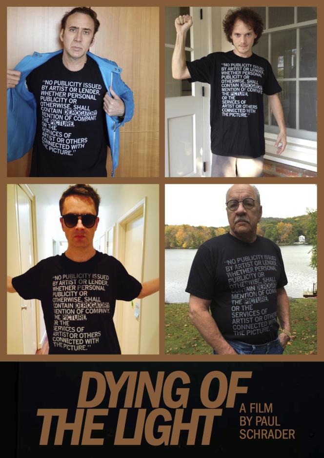 Nicolas Cage, Anton Yelchin, Nicolas Winding Refn et Paul Schrader arborent le t-shirt sur lequel est reproduite la clause de non-dénigrement de leur contrat avec producteurs de
