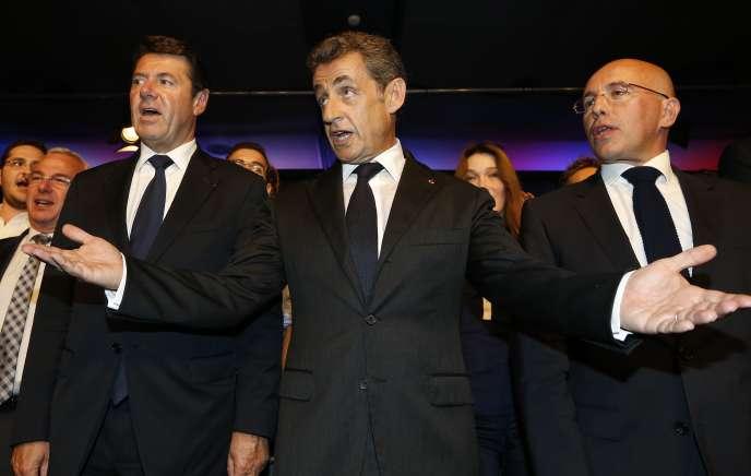 De part et d'autre de Nicolas Sarkozy (ici à Nice en octobre 2014) : l'ami de trente ans, Christian Estrosi, et le nouveau« M. Sécurité» de la campagne pour la primaire à droite, Eric Ciotti.