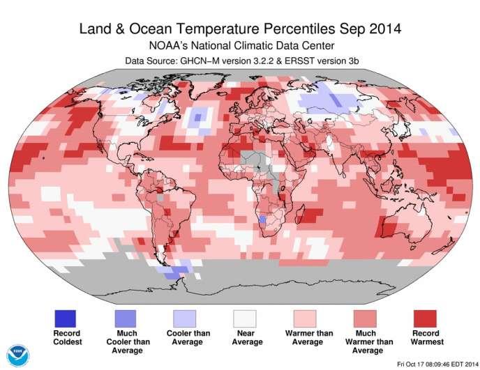Classement des températures moyennes régionales pour septembre 2014.