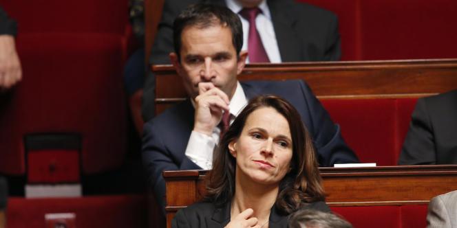 Benoît Hamon et Aurélie Filippetti à l'Assemblée nationale, le 21 octobre.