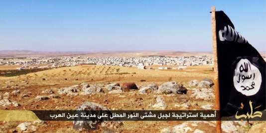 La drapeau de l'Etat islamique mis en scène sur un plateau près de la ville syrienne de Kobané.