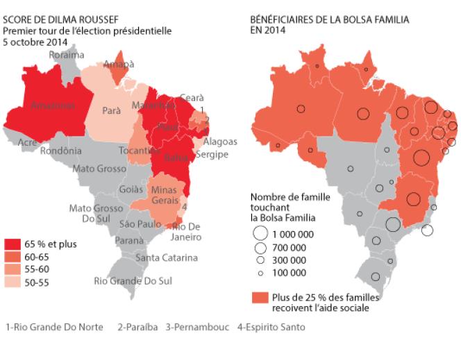 Comparaison entre la localisation des votants pour Dilma Rousseff et les bénéficiaires de la Bolsa Familia