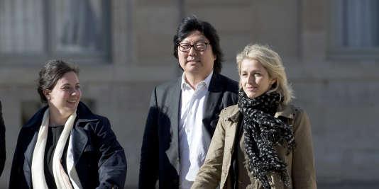Emmanuelle Cosse, Jean-Vincent Placé et Barbara Pompili à l'Elysée le 14 mai 2014.