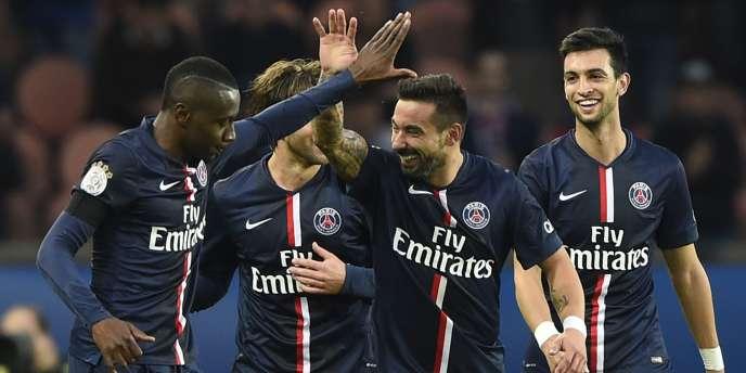 La joie des joueurs parisiens après leur victoire face à Bordeaux, le 25 octobre.