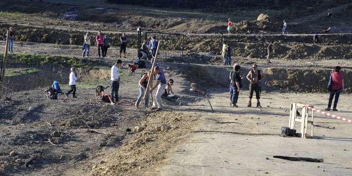 Photo prise le 26 octobre 2014 sur le site du projet de barrage de Sivens.