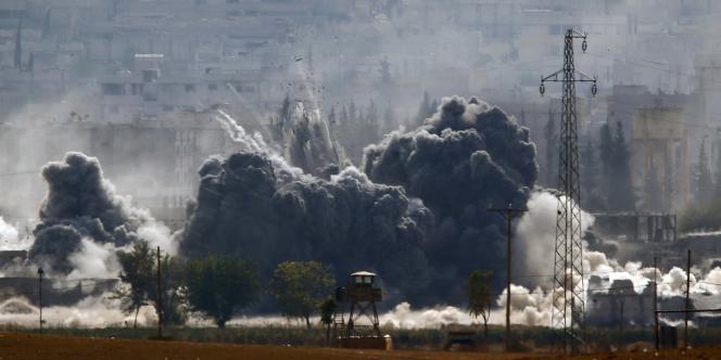 Bombardement sur Kobané, le 28 octobre 2014.