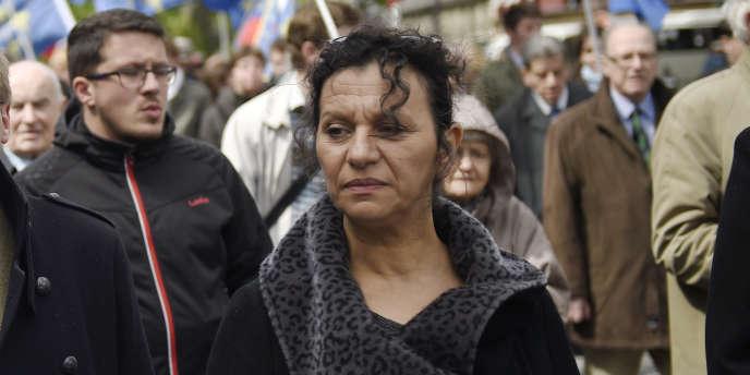Farida Belghoul lors d'une manifestation à Paris, le 11 mai.