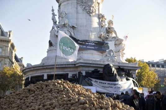 Manifestation d'éleveurs, place de la République, à Paris, le 5novembre 2014.