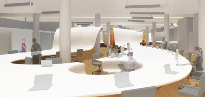 Le Superdesk ondule dans les locaux de l'agence de communication new-yorkaise Barbarian Group.