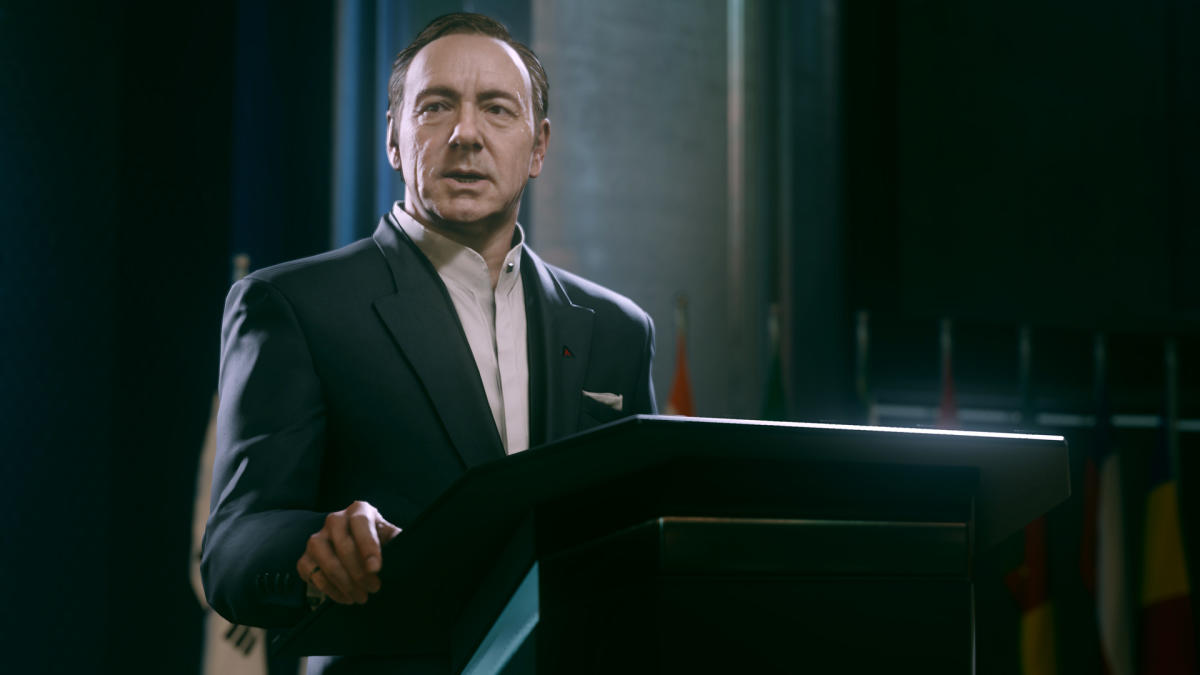 "Kevin Spacey dans ""Advanced Warfare""."