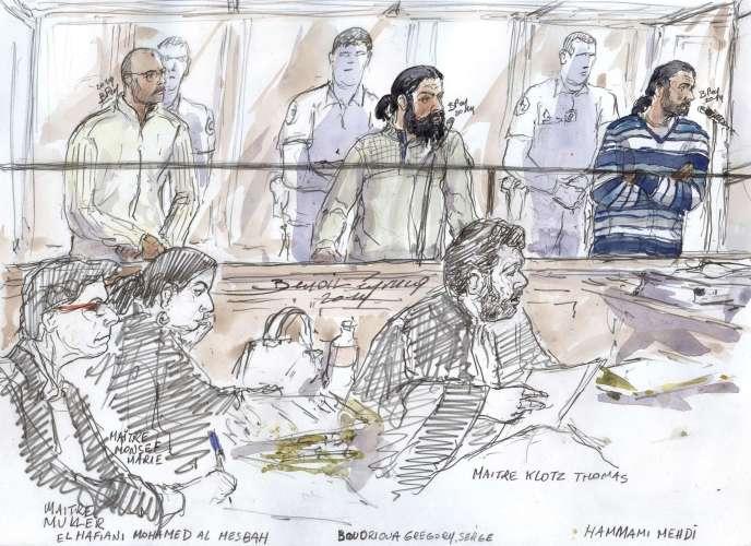 Au procès des trois djihadistes à Paris, le 23 octobre.