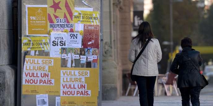 Campagne pour l'indépendance de la Catalogne en novembre2014 à Vic, près de Barcelone.