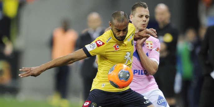 Cédric Kanté, ici sous les couleur du FC Sochaux en mai 2014. Il évolue aujourd'hui à l'AC Ajaccio en Ligue 2.